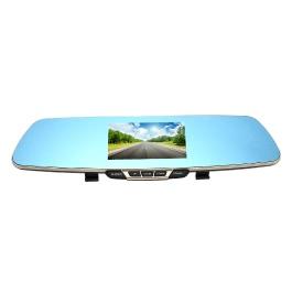 Docooler T6 1080P HD Blue Rearview Mirror Car Video Recorder DVR Dash Camcorder Double Lens Dual Camera