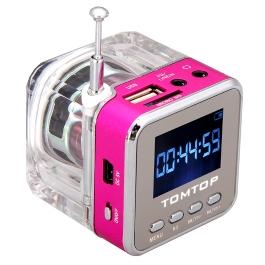 Docooler LSoled Mini Digital Portable Music MP3/4 Player Micro SD/TF USB Disk Speaker FM Radio (Red)