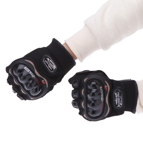 Docooler 1 Pair Ergonomic Design Anti Slip 3D Hard Shell Protective Gear Motorcycle Racing Bicycle Gloves 10 1/2 Inch XL Black