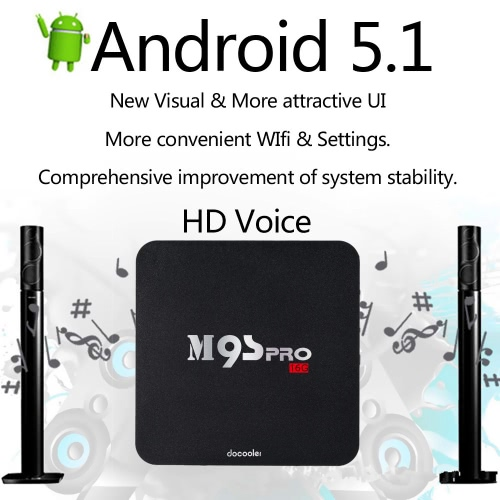 Docooler® Smart Android 5.1 TV Box M9S Pro Amlogic S905 Quad Core UHD 4K 2G / 16G WiFi H.265 DLNA Miracast